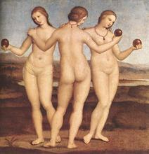 Handpainted oil painting reproduction of Raphael famous artist oil painting old master portrait painting The-Three-Graces(China)