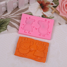 DIY Silicone Fondant Cake molds 3D Cute cartoon pig Moulds Soap Mold Chocolate Mould For The Baking Tools Cake(China)