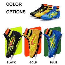 Men Football Boots High Top Kids Children Soccer Shoes Long Spike Cheap Wholesale lights weight Cleats Trainers Size 33-46(China)