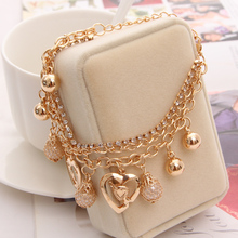 Hesiod Fashion Jewelry Heart Pendant Multi-layer Gold Color Chain Bracelet Simulated Pearl Mesh Bracelets & Bangles Pulseira