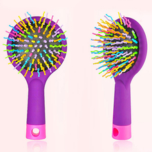 Rainbow Comb Volume Brush Candy Tone Magic Hairbrush with Mirror for Hair Tangle(China)