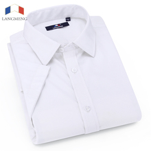 Langmeng 2017 Summer Mens Short Sleeve French Cuff Imitation Silk Solid Color Dress Shirt 100% Cotton Soft Slim fit Tuxedo Shirt(China)