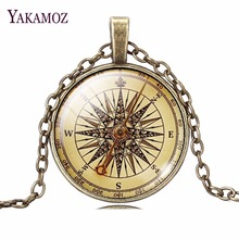 2017 Vintage Jewelry Sliver / Bronze Color Compass Glass Cabochon Necklace Pendant for Christmas Gift
