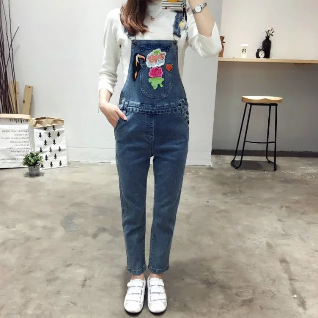 autumn 2017 new womens fashion all-match cloth embroidery washed casual denim overalls nine pants pantsОдежда и ак�е��уары<br><br><br>Aliexpress