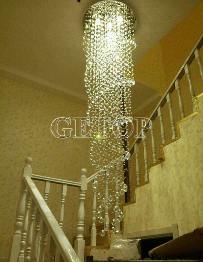 Crystal ledmirror light bubble crystal stainless steel bathroom mirror - Z Modern K9 Crystal Gu10 Led Mirror Stainless Steel Chandelier Luxury Double Spiral Ceiling Light For Stair Hotel Villa Lighting