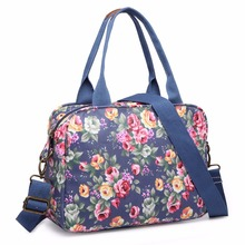 Miss Lulu New Fashion Women Designer Flower Matte Olilcloth Handbag Shoulder Tote Cross Body Satchel Bag Navy LG1657