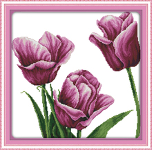 broderie point de croix dmc flower style Purple tulip easy printable cross stitch patterns kits for beginners diy craft gifts