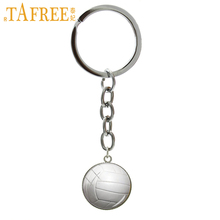 TAFREE Fashion pure white Volleyball photo key chains charm casual sports beach volleyball keychain ball fans jewelry gift B1379