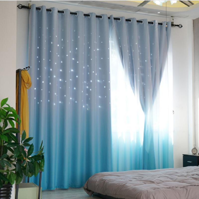 Pastoral Blackout Curtains for Living Dining Room  Fabric Hollow Star Kids Curtains for Bedroom Tulle Curtain Gradual Change