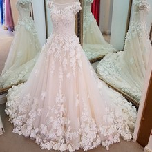 LS71201 luxury dream wedding gown beaded off the shoulder short sleeves ball gown flowers bridal dresses ivory real photos
