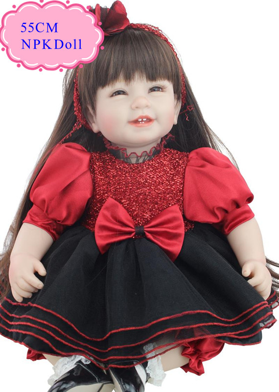 Best Price 55cm 22'' Silicone Reborn Dolls With Red High End Design Baby Doll Clothes Wholesale Reborn Toddler Dolls As Girl Toy(China (Mainland))