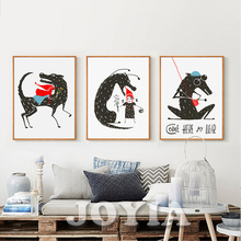 Wolf Print Wolf & Girl With Little Red Hat Cartoon Painting Drawing Nursery Wall Decor Cute Animal Wall Art Home Decor Baby Room