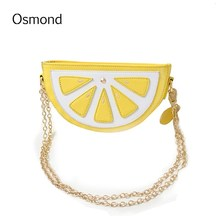 Osmond 2017 Summer Cute Bags For Girls Handbags Leather Shoulder Bag Chain Tote Cartoon Fruit Messenger Bag Orange Watermelon