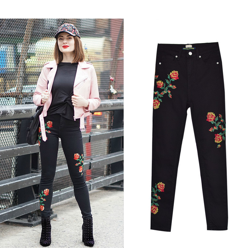Hot Sexy High Waist Denim Stretchy Black Jeans Embroidery Rose Fashion Skinny Full Length Bodycon Tight Women Pencil Jeans Femme (20)
