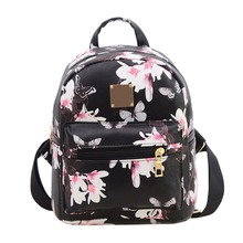 Women's Flower Floral Printing Mini Small Backpack Fashion Ladies Schoolbag for Teenagers Girls Female Backbag rucksack Mochila