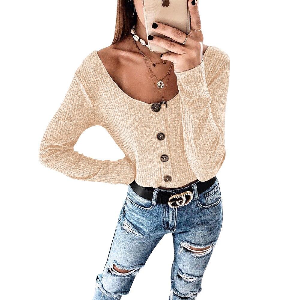 Crop Top Women Long Sleeve Button O-neck Spring Summer T Shirt Women Sexy Camiseta Mujer Women Tshirt Tee Shirt Femme 2019 Tops2