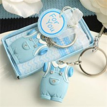 (DHL,UPS,Fedex)FREE SHIPPING+50pcs/Lot+Cute Baby Clothes Design Blue Keychain Baby Baptism Giveaway Gift Birthday Souvenir