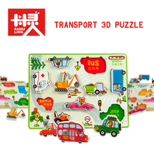 New 30*30CM Large 3D Wooden Puzzles Children Transport vehicles Graphics Puzzle Grasp Board Kids Early Educational Toys 2017(China)