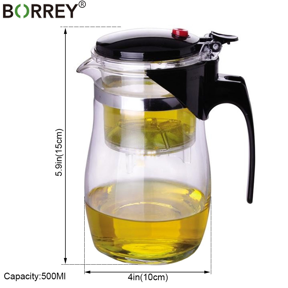 BORREY Heat Resistant Glass Teapot With Infuser Filter Chinese Kung Fu Puer Oolong Tea Teapot 500Ml Kamjove Tea Pot Water Kettle 2