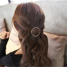 ta014 Europe and the United States simple Gothic punk wind geometric round circle hairpin side clip jewelry(China)