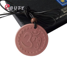 Quantum Energy Pendant with Anion Card OM Pendant Lava Charms Necklace Red Tourmaline Stone Fashion Jewelry 2PCS/LOT