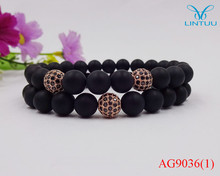 Promotion Jewelry Real matte Black Onyx rose gold color micro pave black stone ball Bracelets christmas gifts Jewelry