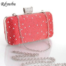 Rdywbu Promotion New Design Ladies Rhinestone Evening Bags Fashion Women Acrylic Chain Wedding Party Clutch Purse Handbags SJ274