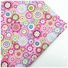 Twill Cotton Fabric Syunss Pink Flower Print For Curtain Kid Doll The Cloth Material Sewing Craft Tissue Telas Fabrics Patchwork