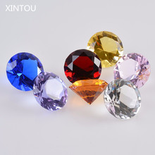 XINTOU Crystal Glass Marbles Diamond Stone Paperweight 3 cm Feng shui Crafts Ornaments For Home Vase Wedding Decoration Gift(China)