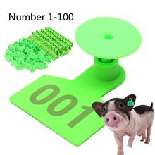 Ear Tag Green 1-100 Number Plastic Livestock Animal Tag Marked Identificationd 100 Pieces Home Farm Animal for Goat Sheep Pig