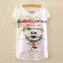 2017 Brand New Polyester T-Shirt Women Short Sleeve t-shirts o-neck Causal loose Butterfly Perfume T Shirt Summer tops for women