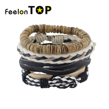 Feelontop 4pcs/set Punk Multilayer Chain PU Leather Plaited Wrap Bracelets and Bangles Fashion Bijoux For Women And Men