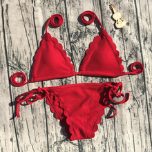 Buy CALOFE Sexy Floral Red Bikini Set Split Swimsuit Women Halter Bandage Bathing Suits Thong Swimwear Brazilian Bikini 2018 Bikini
