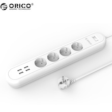 ORICO ODE Smart USB Power Strip Socket EU Plug Overload Switch Surge Protector 4 Outlet 4 Port USB Charger 5V2.4A 20W(China)