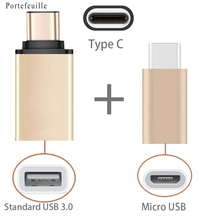 2 in 1 Type C to USB OTG Adaptor Type-C to MicroUSB Adapter For Huawei Mate 9 Pro mobile phone accessories Gold Micro USB Cable