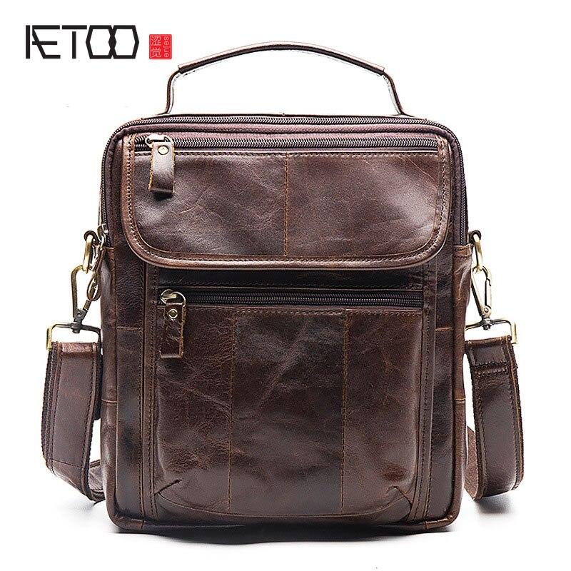 AETOO Mens shoulder bag head layer leather leisure business handbag crazy horse skin retro men bag briefcase<br>