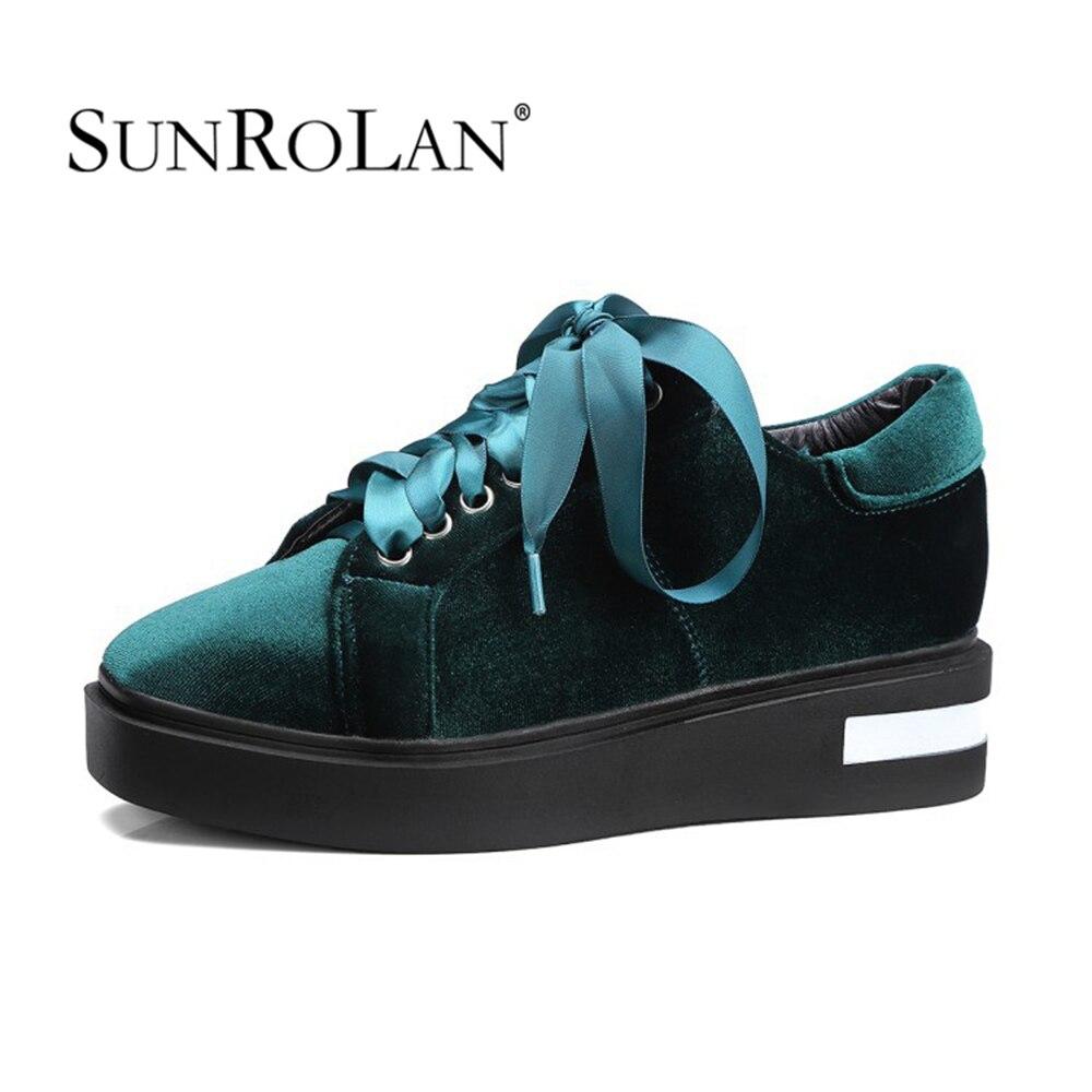 Sunrolan 2017 Spring Autumn Fashion Flat Ribbon Lace-up Pleuche Shoes Girl Loafers Shoes Plus Size Free Shipping TTBJ-2911<br>