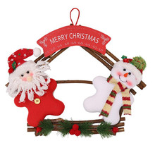29*36CM Christmas pendant Wreath Natural Wood Welcome Santa/Snowman Door Knob hanging decoration Party fireplace Pendants Pine(China)