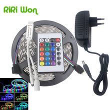 5m RGB LED Strip SMD2835 LED Light DC12V RGB Waterproof Flexible Strip LED Tape Diode Ribbon With Remoter Controller+Adapter