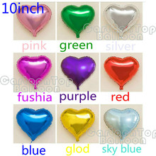 "Hot 20pcs/lot 10inch heart shape balloons 10"" colorful cute heart foil ballon For Wedding Birthday Party supplies inflatable air"