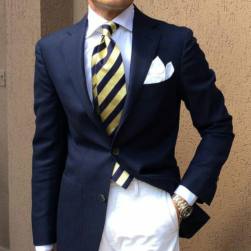 Navy Blue Men Suits For Wedding Casual Business Man Blazers Groom Tuxedos Notched Lapel 2pieces Slim Fit Costume Homme Ternos