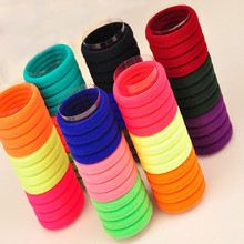 100 Pcs /Pack Hair Holders High Quality Candy Colored Rubber Bands Hair Elastics Accessories Girl Women Tie Gum Hair Styling(China)