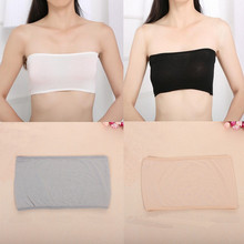 Fashion 4 Colors Sexy Women Solid Bandeau Seamless Safety Bra Tube Anti emptied Tank Top Strapless Stretch(China)