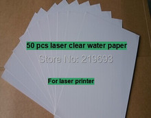 (50 pieces/lot) A4 clear/transparent laser waterslide transfer printing paper laser water transfer printing decal