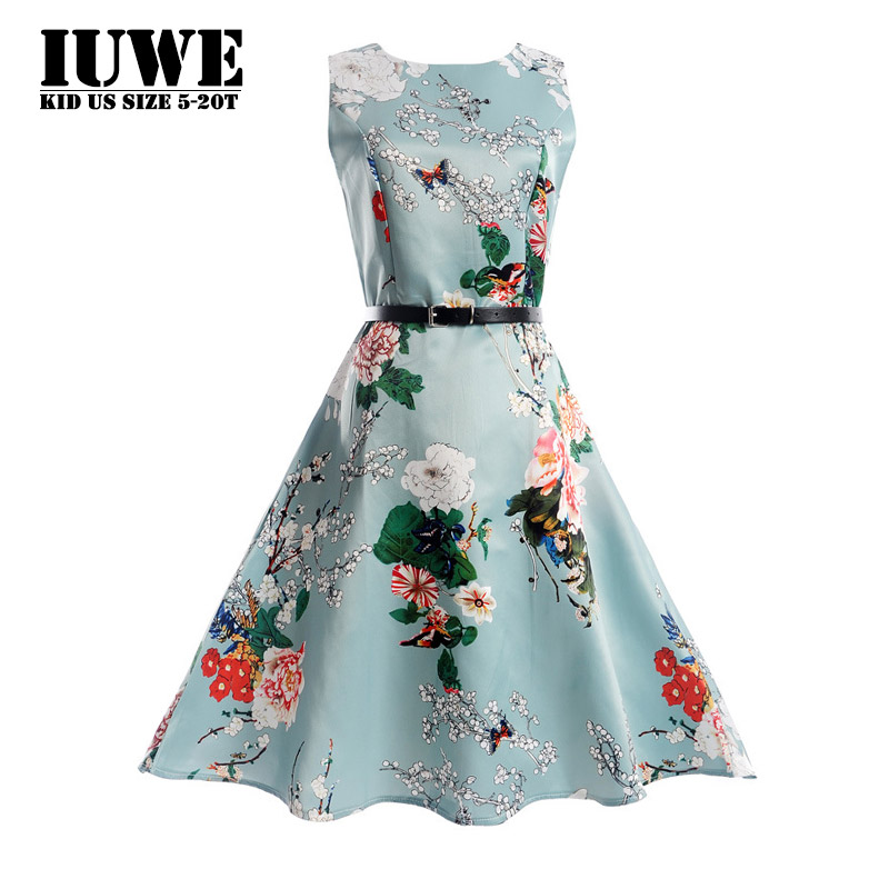 Summer Dress for Girls Floral Pattern Childrens Clothes for Girls Blue O-neck Girls 2017 Spring New 12 14 Childrens Prom Dress<br><br>Aliexpress
