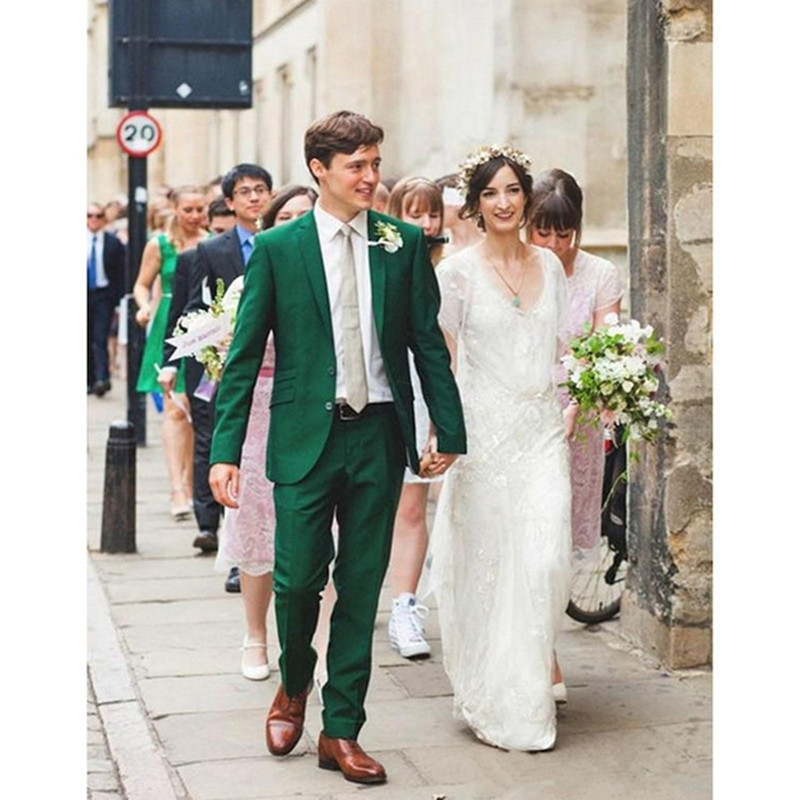 Fashion classic men's suit green lapel single-breasted men's prom dress and groomsmen dress (jacket + pants) custom made