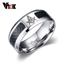 Vnox Masonic Men Ring Stainless Steel & Carbon Fiber 8mm Punk Wedding Jewelry US size 4 5 6 7 8 9 10 11 12(China)