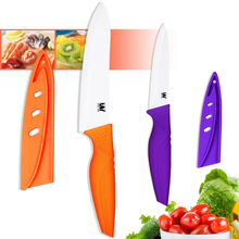 XYJ Brand Ceramic Knives 4 Inch Purple Utility 6 Inch Orange Chef Kitchen Knives Ceramic Blade Cooking Knives Kitchen Present