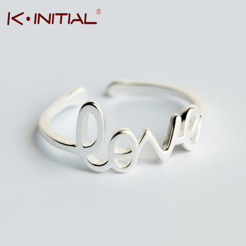 Kinitial 1Pcs Modern Letter Love Midi Finger Rings 925 Silver Initial