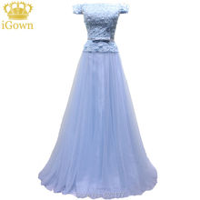 iGown Brand Evening Dress Boat Neck Sleeveless Light Blue Lace Evening Dress Floor-length Party Prom Dress with Pearls Plus size